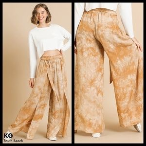 Paper Bag High Waisted Pant W/Front Slits & Tie